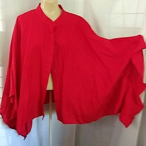 Red Linen Ruffle Sleeve Poncho